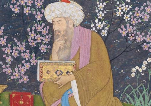 Fragment with scholar in a garden. Attributed to Muhammad Ali 1610-15. Courtesy Museum of Fine Arts, Boston